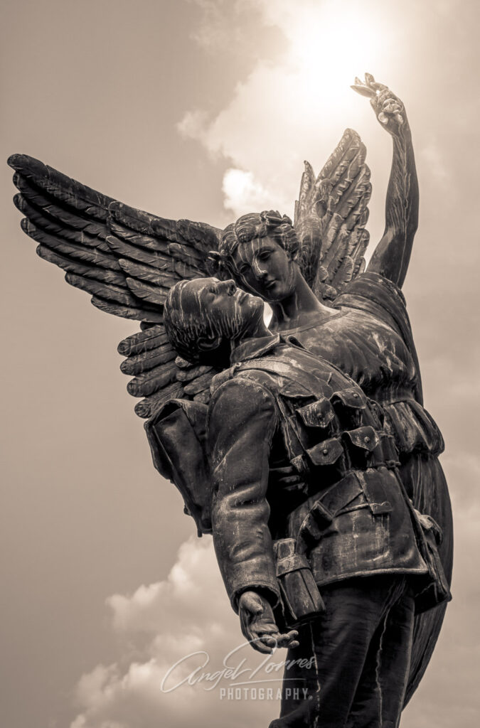 Angel carrying deceased soldier up into sky
